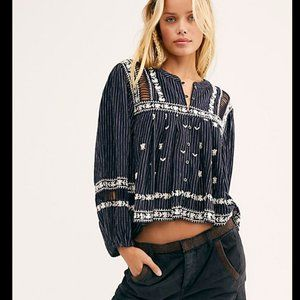 Free People All Roads Lead To You Navy Blouse